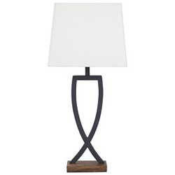 Black metal lamp with white shade