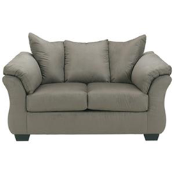 Grey upholstered love seat