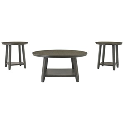 Three black occasional tables