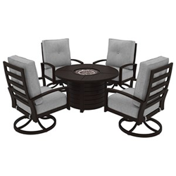 Black metal conversation set with white cushions