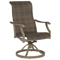 Brown woven swivel outdoor dining chair