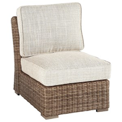 Woven chair with grey cushion