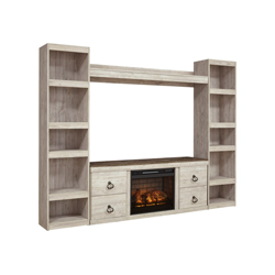 White wooden wall unit