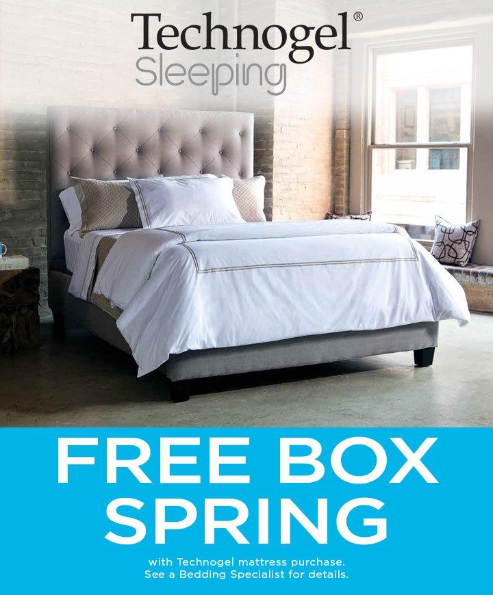 Free box spring with mattress purchase; see store for details.