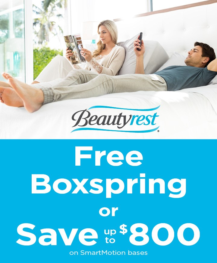 Free boxspring or save up to $800 on SmartMotion bases; see store for details.