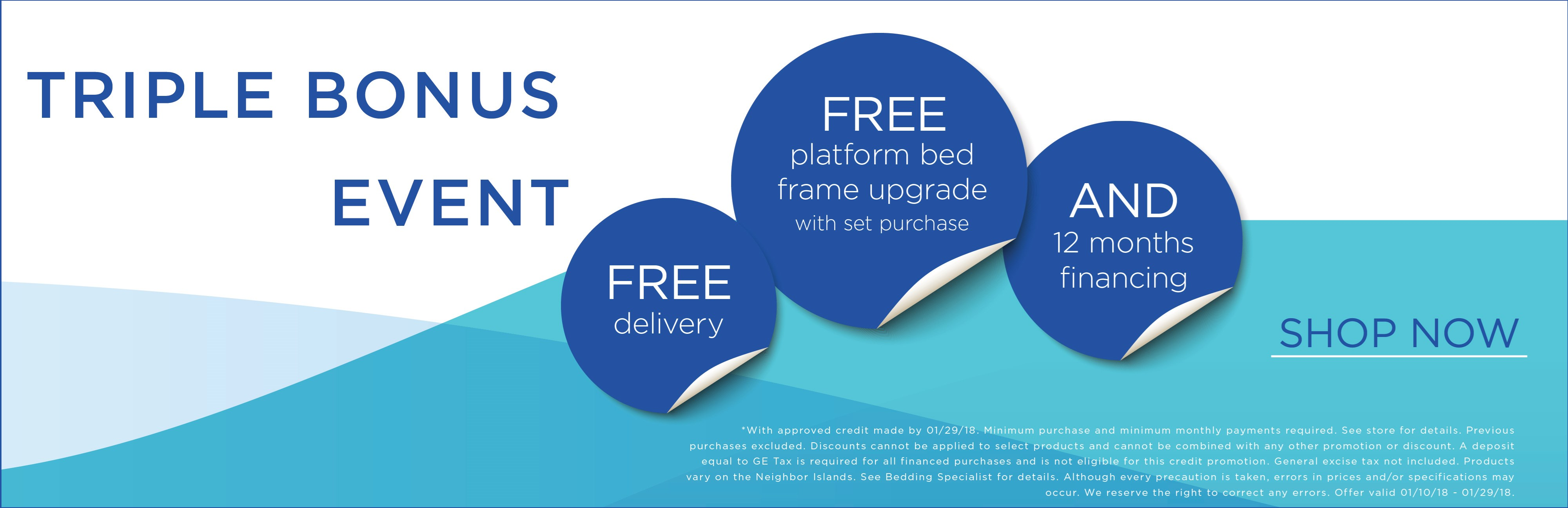 Free delivery, platform bed frame upgrade with purchase of set, and 12 months financing; see store for details.