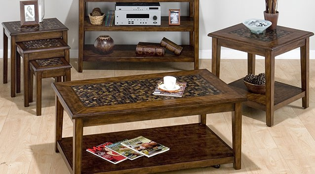wood accent table set