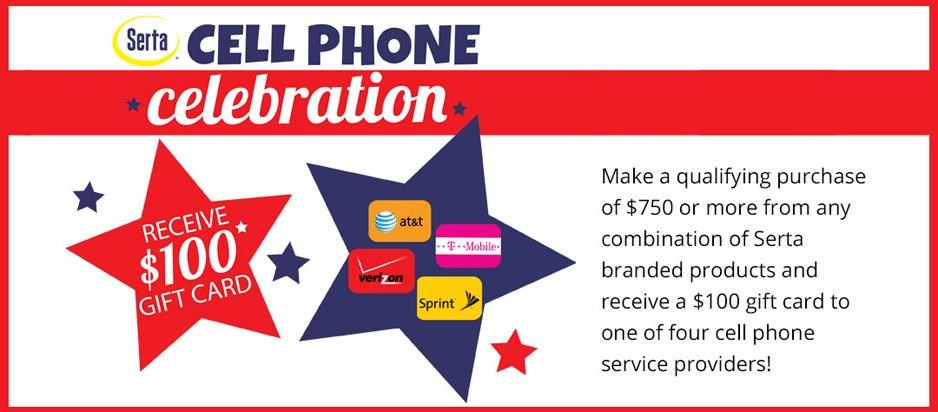 Spend $750 or more on Serta products and get a $100 gift card to one of four cell phone providers