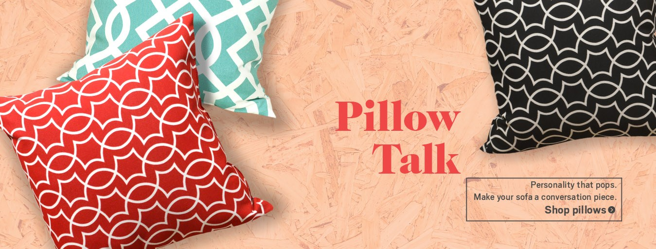 Pillow talk. Red, blue, and black pillows.