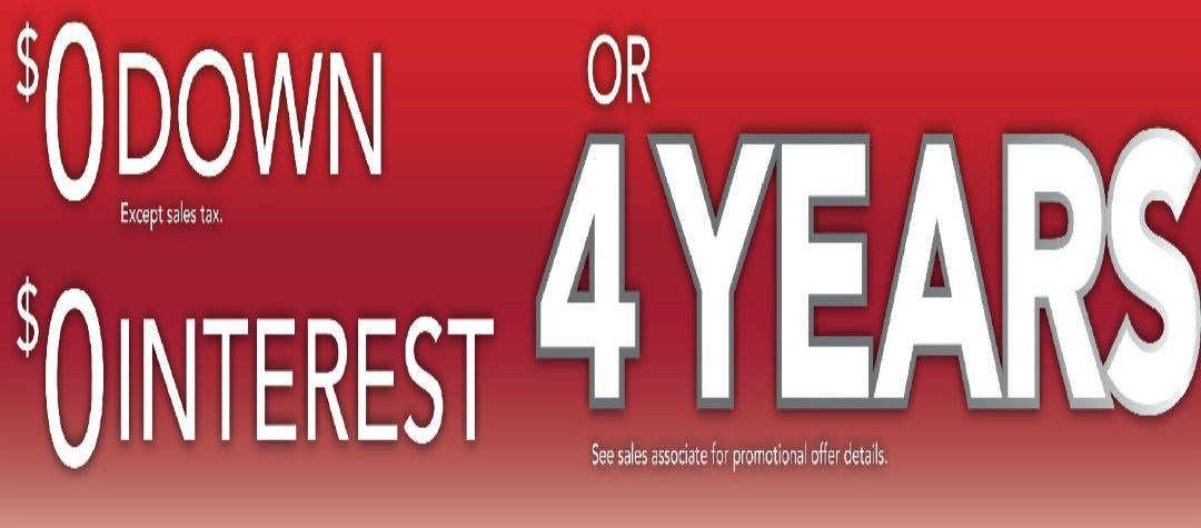 or 48 Months Interest Free Financing