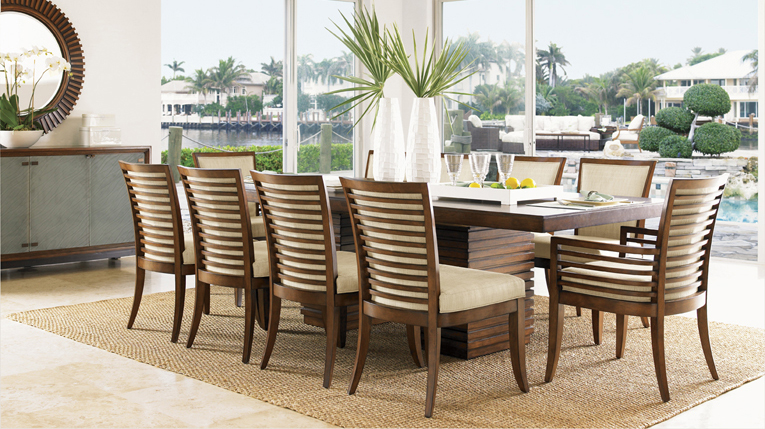 Tropical Tan Dining Table And Chairs