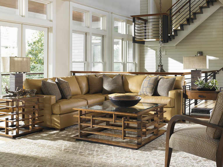 Asian Inspired Square Tail Table And Leather Sectional