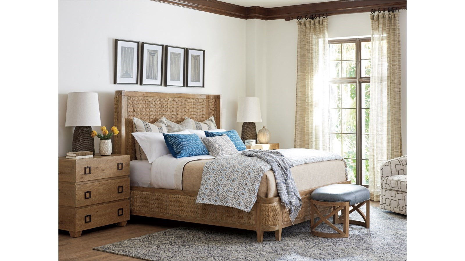 bedroom with natural bed frame and wooden nightstand