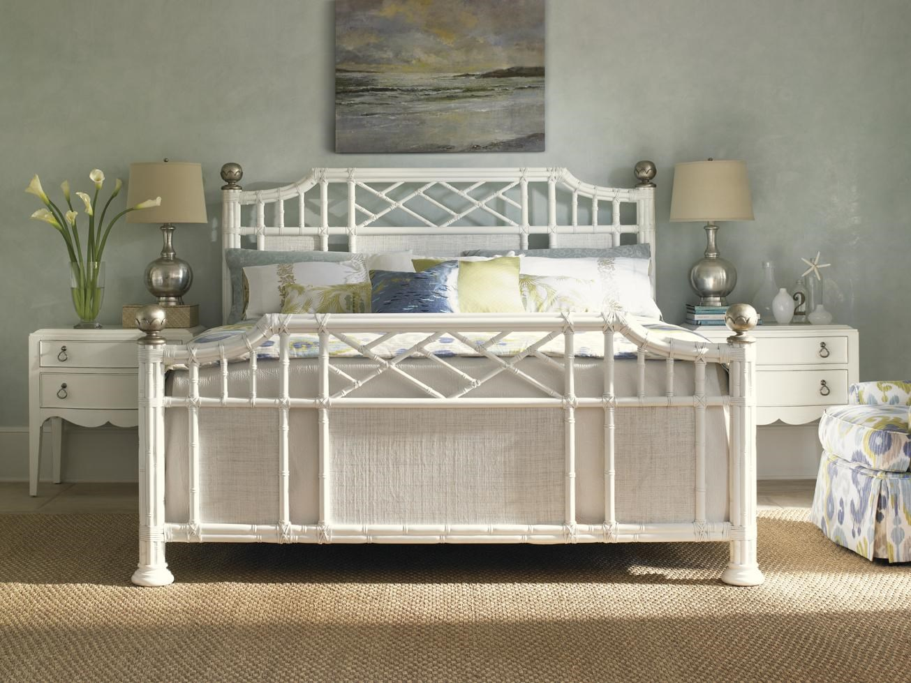 Ivory Key Pritchards Bay Panel Bed with Leather Wrapped Rattan and Silver Leaf Finials