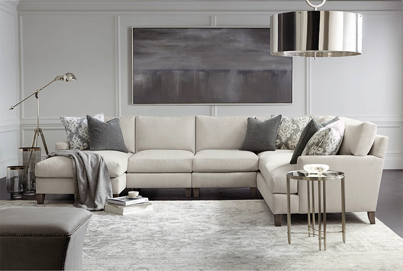 Mila Transitional 5-Piece Sectional with Exposed Wood Legs