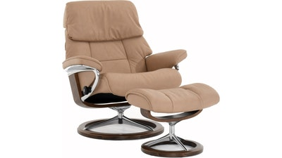 Stressless Ruby Large Signature Reclining Chair and Ottoman