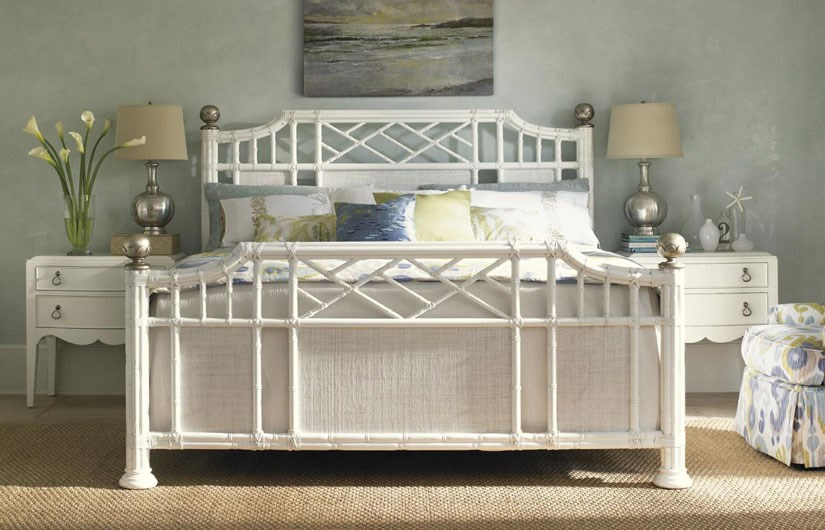 Ivory Key Queen Pritchards Bay Panel Bed with Leather Wrapped Rattan and Silver Leaf Finials