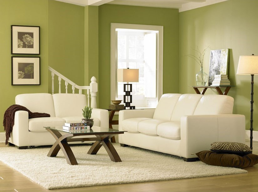 White Leather Living Room Group