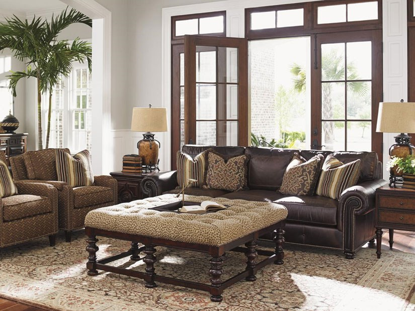 Leather Furniture And Fabric Chair Interior Design ~ Mixing a leather sofa with fabric upholstery pieces baer