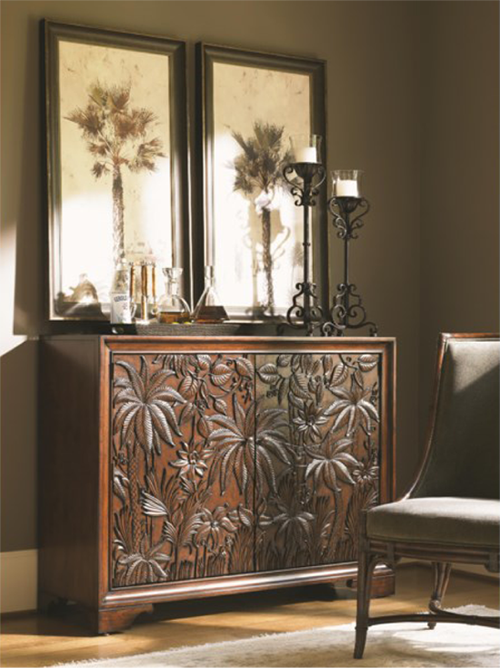 brown chest with palm tree pattern