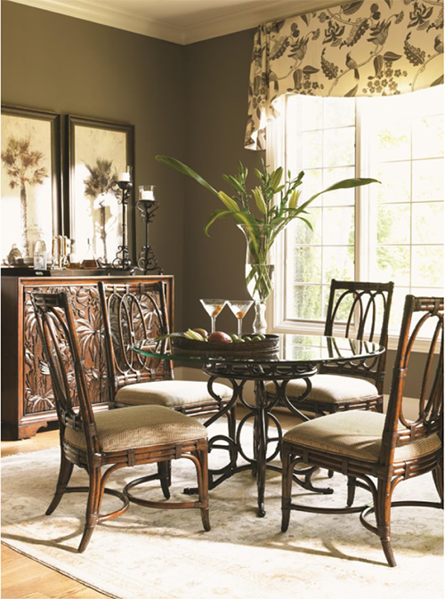 brown and beige dining set