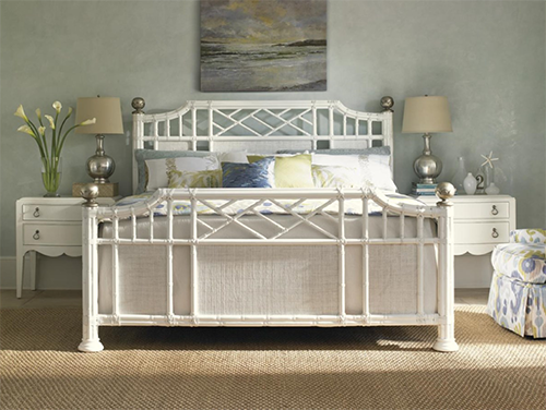 bed with white wooden frame