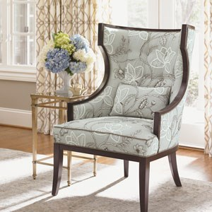 Light blue chair with dark wood finisih