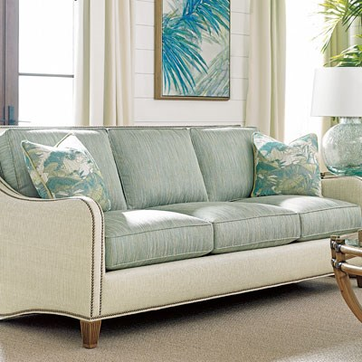 Light blue cand white couch showcasing nailheads