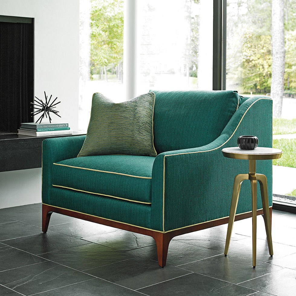 teal chair in a room