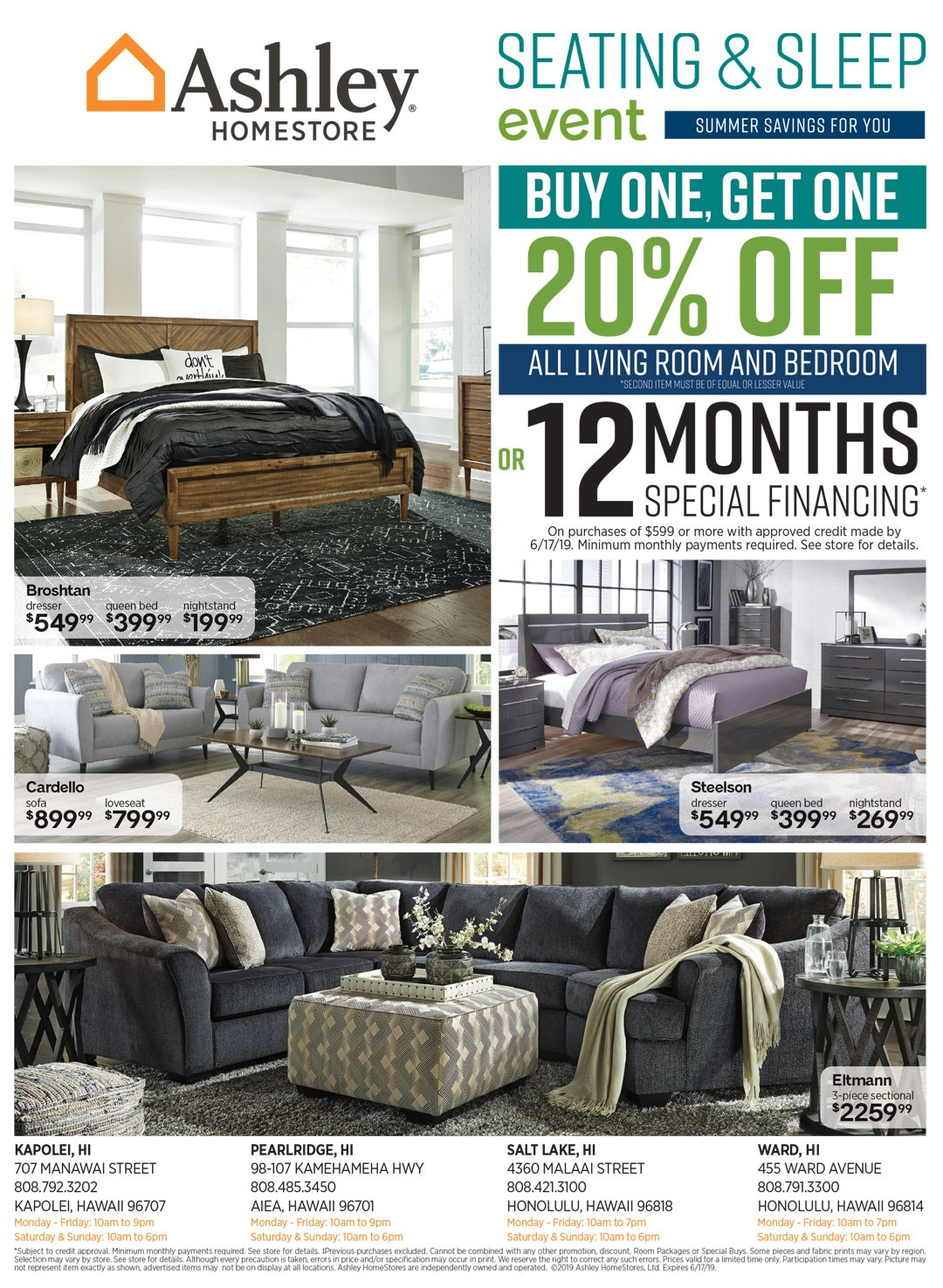 Buy one get one 20% off all living room and bedroom or 12 months financing. See store for details.