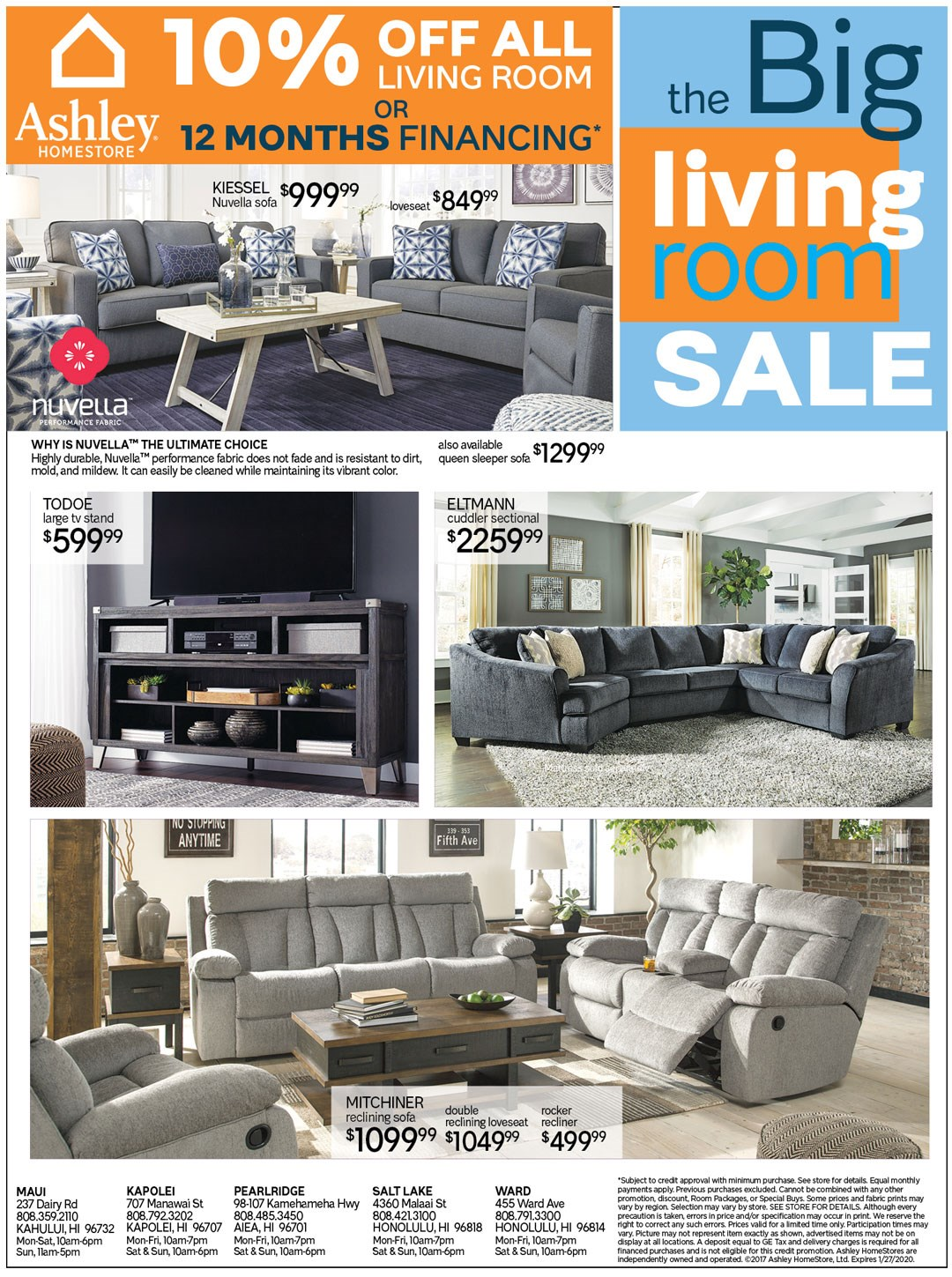 10% off all living room furniture or ask about 12 months financing; see store for details