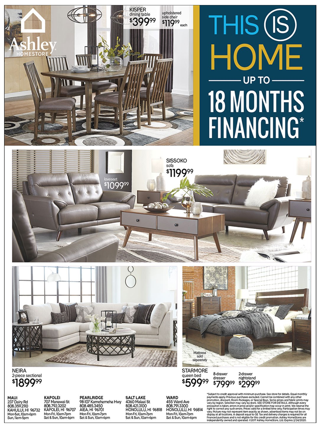 Up to 18 months financing; see store for details