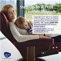 Upgrade from fabric to leather or to a higher grade of leather and save on Stressless seating. Or receive $300 off Stressless Reno in Paloma leather colors. See store for details.