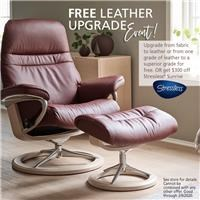 Upgrade from fabric to leather or from one grade of leather to a superior grade for free, or get $300 off Stressless Sunrise; see store for details