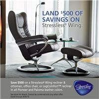 Save $500 on Stressless Wing recliner & ottoman, office chair, or LegComfort recliner in all Pioneer and Paloma colors; see store for details.