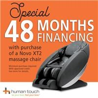 48 months financing with purchase of Novo XT2 massage chair; see store for details.