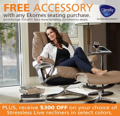 Free accessory with any Ekornes seating purchase; $300 off on Stressless Live in select colors. See store for details.