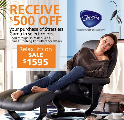 Receive $500 off Stressless Garda in select colors; see store for details.