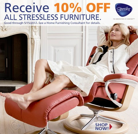 10% off Stressless furniture; see store for details.