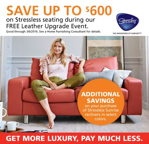 Stressless by Ekornes free leather upgrade; see store for details.