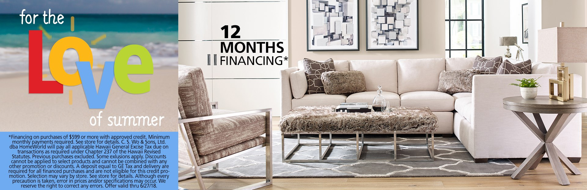 Neutral living room; special financing available. See store for details.