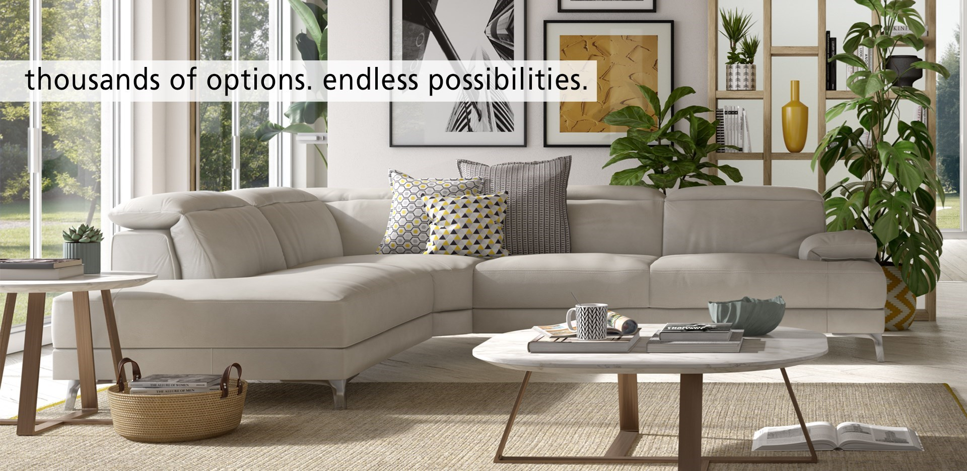 Branding. Thousands of Options. Endless possibilities. Natuzzi Editions living room with sectional.