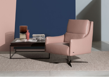Natuzzi Editions Beige Chair with Side Table