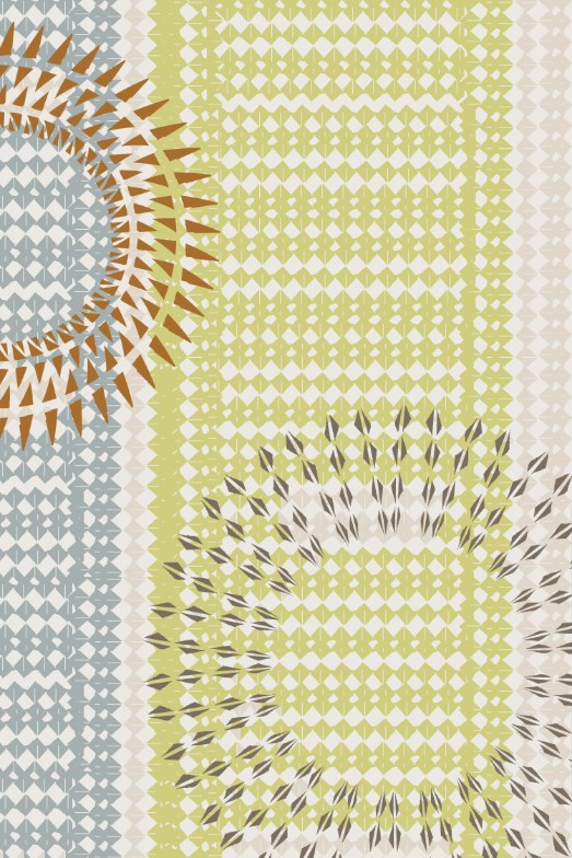 Rectangle Rug with a circular and linear pattern in green, brown, blue, and white