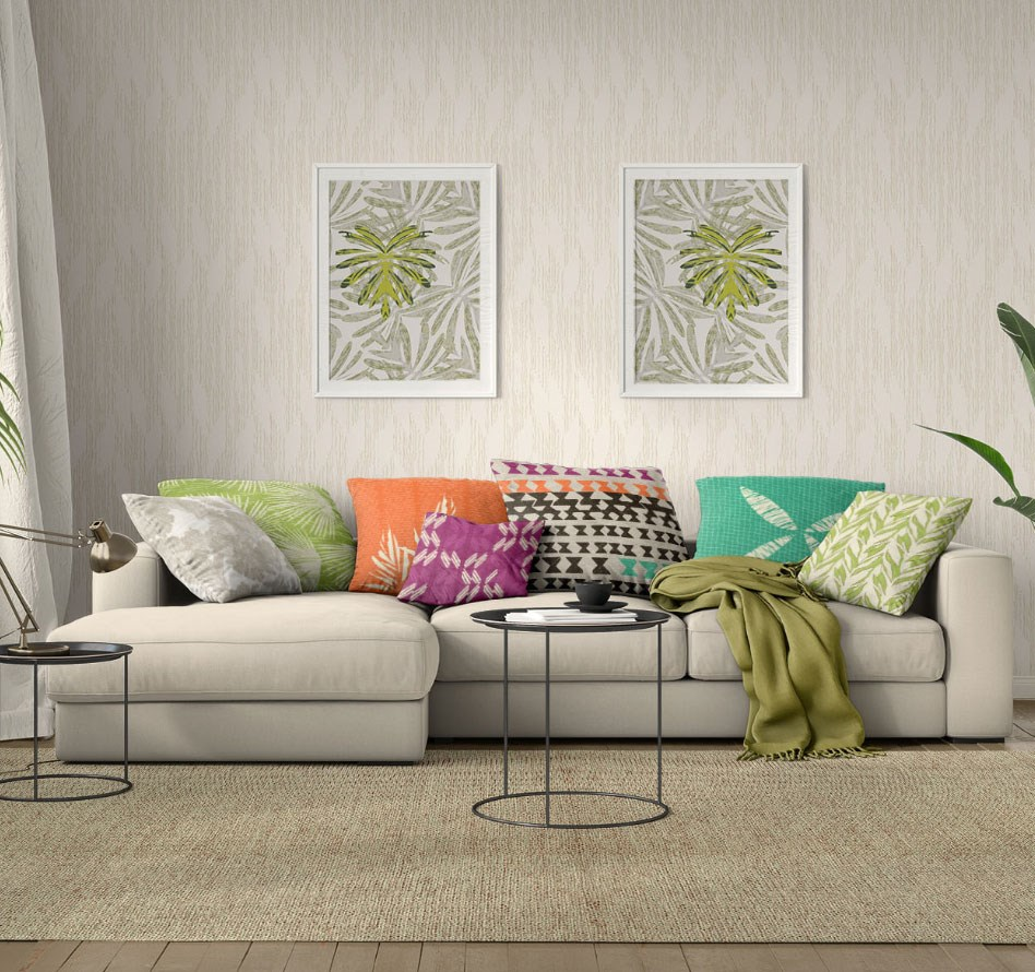 Room Shot with Grey Sectional with many throw pillows of differetn colours