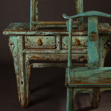 Blue Green Table with Chair