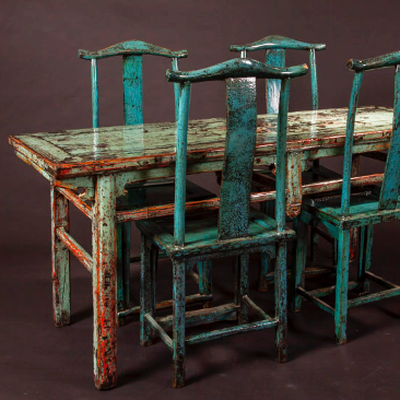 Blue Green Dinging Table and Chairs