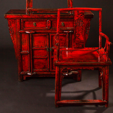 Fire Engine Red dresser with mirror and chair