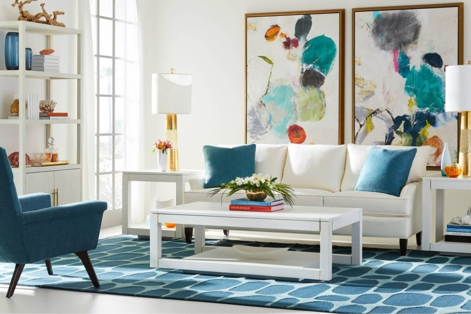 Bright white living room scene