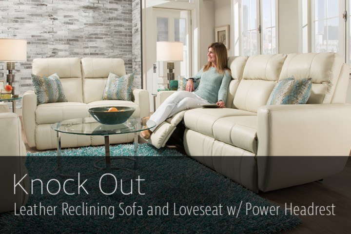 southern motion sm875 61p knock out power reclining leather sofa and loveseat set